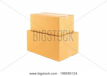 Stack of two brown cardboard boxes isolated on white background