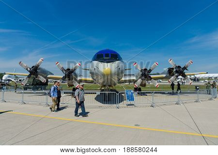 BERLIN GERMANY - MAY 21 2014: A four-engine turboprop anti-submarine and maritime surveillance aircraft Lockheed P-3C Orion. German Navy. Exhibition ILA Berlin Air Show 2014