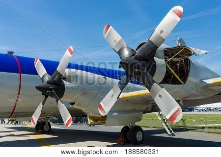 BERLIN GERMANY - MAY 21 2014: Engines Allison T56-A-14 of the four-engine turboprop anti-submarine and maritime surveillance aircraft Lockheed P-3C Orion. German Navy. Exhibition ILA Berlin Air Show 2014
