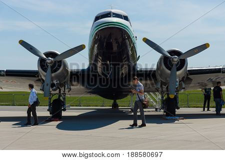 BERLIN GERMANY - MAY 21 2014: A fixed-wing propeller-driven airliner Douglas DC-3. Exhibition ILA Berlin Air Show 2014