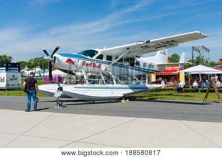 BERLIN GERMANY - MAY 21 2014: Light transport turboprop Cessna 208 Caravan Amphibian. The Flying Bulls Team. Exhibition ILA Berlin Air Show 2014