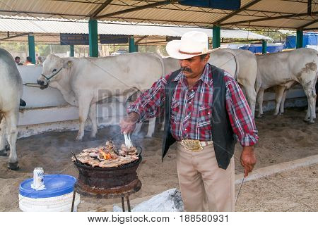 Man Roasting Meat On The Grill Of A Bullfight At Valladolid