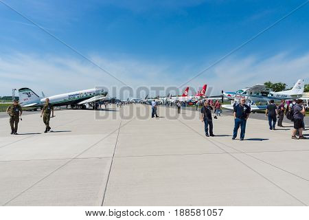 BERLIN GERMANY - MAY 21 2014: Airfield with planes. Exhibition ILA Berlin Air Show 2014