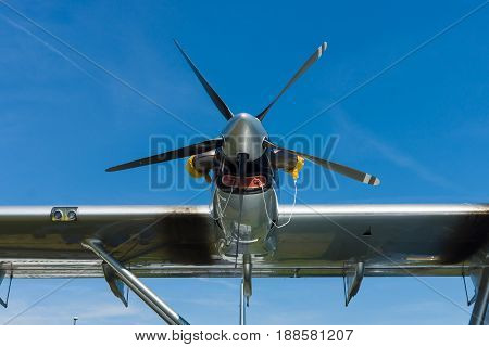 BERLIN GERMANY - MAY 21 2014: Turboprop engine Pratt & Whitney Canada PT6A-45 close-up. Flying boat Dornier Do 24ATT Amphibian (modern replica). Exhibition ILA Berlin Air Show 2014