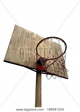 basketball hoop on white background in the morning