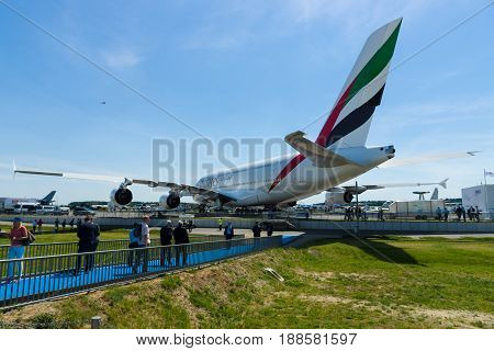 BERLIN GERMANY - MAY 21 2014: The largest passenger airliner in the world Airbus A380. Rear view. Emirates Airline. Exhibition ILA Berlin Air Show 2014