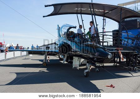BERLIN GERMANY - MAY 21 2014: Military trainer aircraft Hawk 128 (Hawk T2). Royal Air Force. Exhibition ILA Berlin Air Show 2014