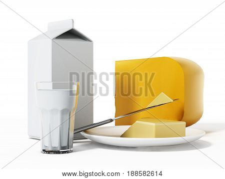 Milk cheese and butter isolated on white background.