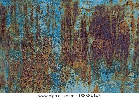 Grunge rusty metal texture with old blue paint. Retro background - aged metallic surface.