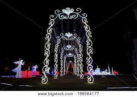 NAGOYA JAPAN - DECEMBER 10, 2016: Cristmas ilumination at Hisaya-odori Garden Flarie in Nagoya.
