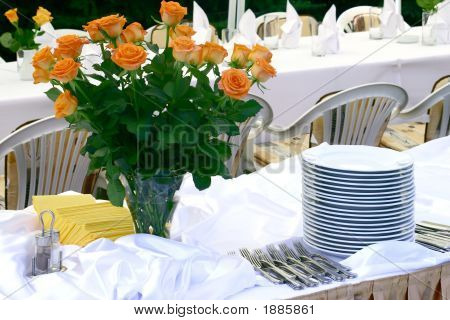 Flowers And Tableware