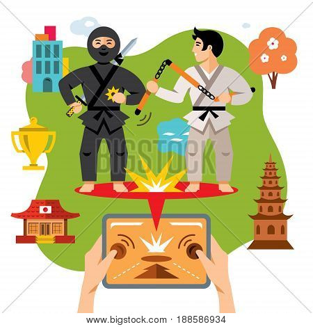 Fight black ninja and karate in different locations. Isolated on a white background