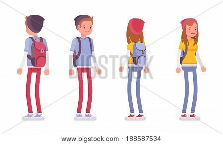 Teenager boy and girl wearing cute beanie and urban messenger rucksack, casual slim fit, smiling, standing pose, front, rear view, vector flat style cartoon illustration, isolated, white background