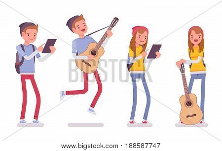 Teenager boy and girl wearing cute beanie, messenger rucksack, casual slim fit, standing, playing guitar, singing, holding tablet, vector flat style cartoon illustration, isolated, white background