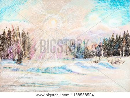 Winter sun in forest and large snowdrift