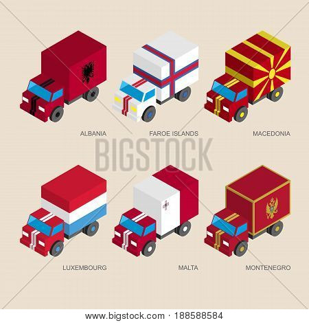 Set of isometric 3d cargo trucks with flags of countries in Central Europe. Cars with standards - Albania, Faroe Islands, Macedonia, Luxembourg, Malta, Montenegro.