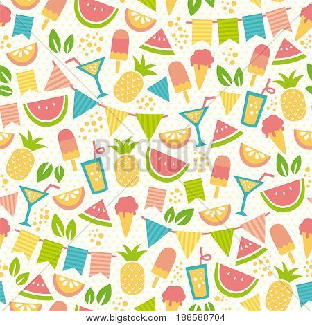 seamless pattern for summer with ice creams and fruit