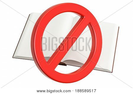 Book with forbidden prohibition sign 3D rendering
