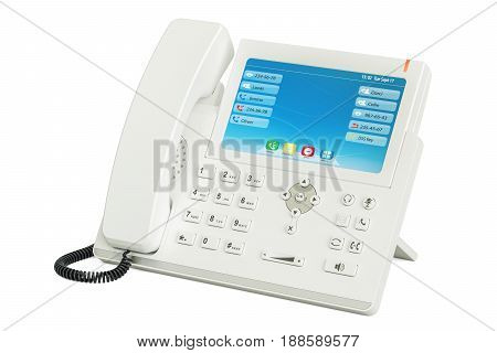 Modern white IP Phone 3D rendering isolated on white background