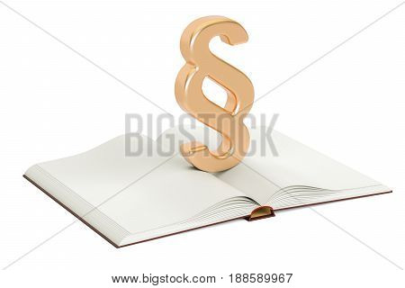 Opened blank book with paragraph or section symbol 3D rendering isolated on white background