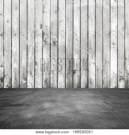 Old White Wooden Wall And Asphalt Floor