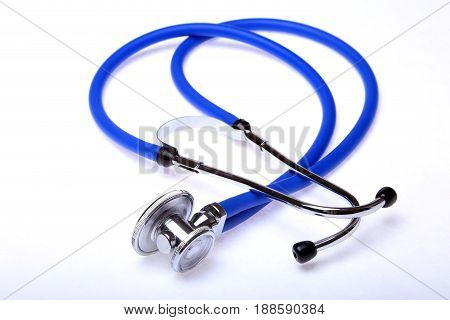 medical stethoscope isolated on white background. selective focus