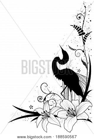 vector background with egret and lily for corner design in black and white