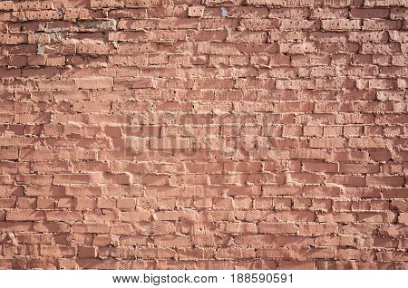 Old Grungy Red Brick Wall, Frontal Flat Background