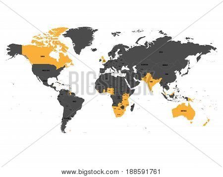 Member states of the British Commonwealth orange highlighted in the world map. Vector illustration.