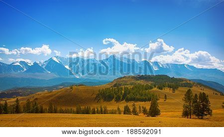 The beauty of the mountain landscape,In the foreground there is a mountain steppe against the background of snow-capped mountains