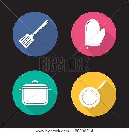 Kitchenware flat design long shadow icons set. Cooking equipment. Spatula, pot holder, saucepan, frying pan. Vector silhouette illustration