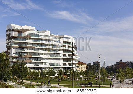 Milan, Italy, May, 2017: Modern Residential Building Houses Of City Life Residential District, In Mi