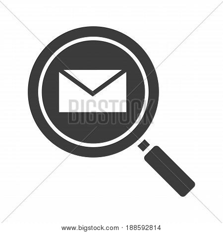 Email search glyph icon. Silhouette symbol. Magnifying glass with email letter. Negative space. Vector isolated illustration