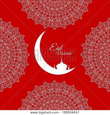 Eid Mubarak Card Red Design Vector Eps 10
