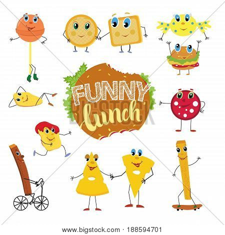Set of funny and cute cartoon fast food characters, snack, candy, cheese, sausage, cracker, chips. Vector illustration isolated on white background.