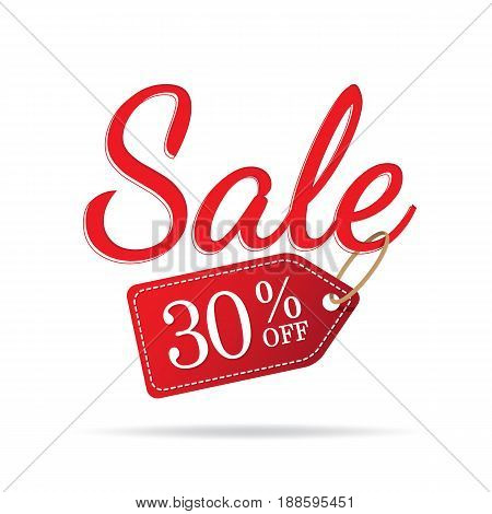Vol.3 Sale Sign Set Red On White Background 30 Percent Off Heading Design For Banner Or Poster. Sale