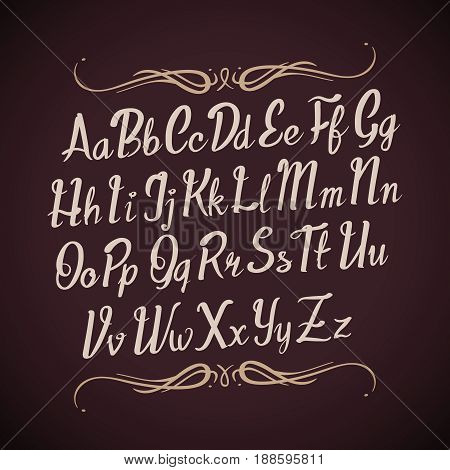 Hand drawn vector alphabet letters. Handwritten calligraphy type. Calligraphy handwritten alphabet, illustration of abc typography