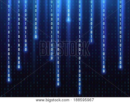 Big data vector concept with falling down glowing binary numbers. Digital matrix computer background. Virtual digital binary matrix, illustration of data code matrix