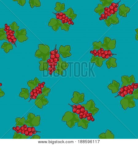 Seamless Pattern of Redcurrant Fruit Berry on Azure Background Vector Illustration
