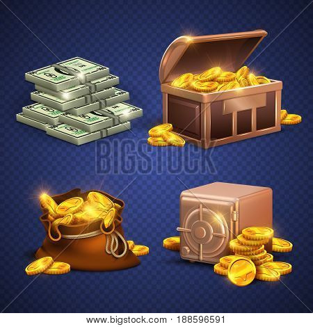 Casino vector 3d signs and money icons. Dollars, gold coins in safe deposit and moneybag. Golden heap coins in box, illustration of wooden chest with money