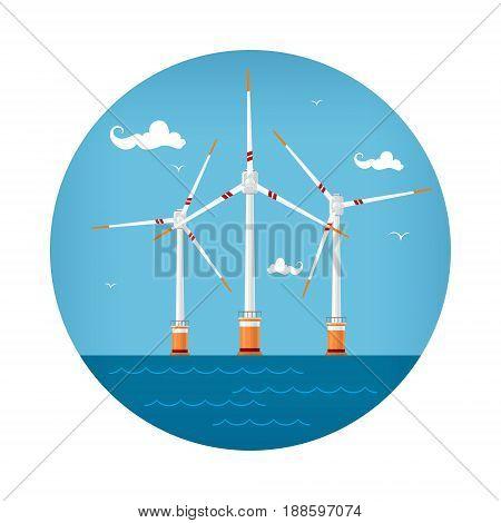 Round Icon Wind Turbines at the Sea Horizontal Axis Wind Turbines at the Sea off the Coast Offshore Wind Farm Icon Vector Illustration