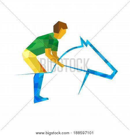 Equestrian sport with green and yellow patterns. Flat athlete icon isolated on white background. Vector sport illustration. Simple cartoon horseman and horse silhouette for logo or infographic.