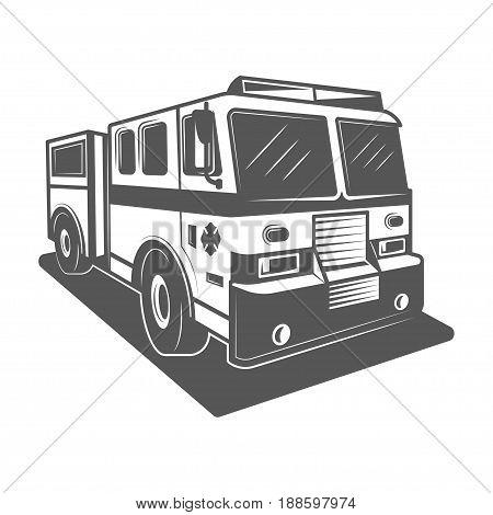 Fire truck vector illustration in monochrome vintage style. Design element for logo, label, emblem.