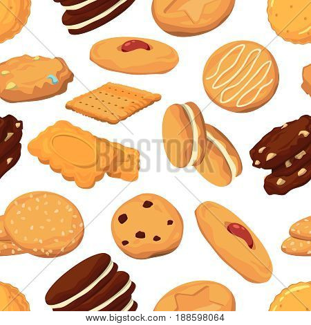 Different cookies in cartoon style. Vector seamless pattern with sweet dessert cookies illustration