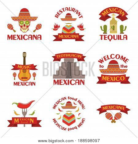 Mexican set of vector emblems, labels, badges and logos on white background. Mexican food menu, mexican music, mexicana
