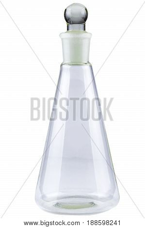 Laboratory or wine glass carafe or flask isolated on white background.