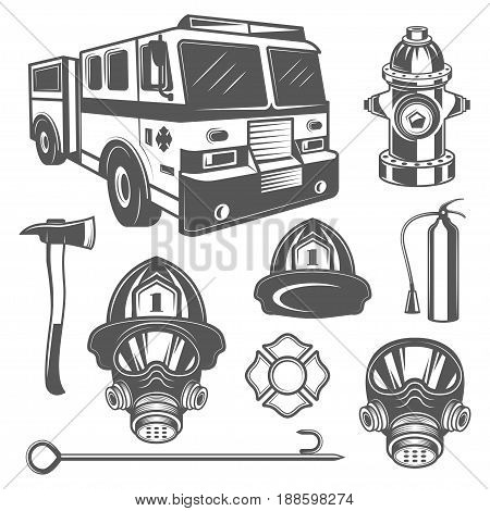 Set of vintage firefighter and fire equipment icons in monochrome style. Design elements for logo, label, emblem.