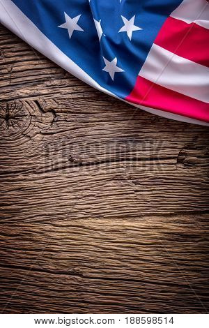 USA flag. American flag. American flag on old wooden background.Vertical.