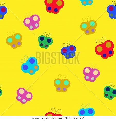 Butterfly chaotic seamless pattern. Fashion graphic background design. Modern stylish abstract texture. Colorful template for prints textiles wrapping wallpaper. Stock VECTOR illustration