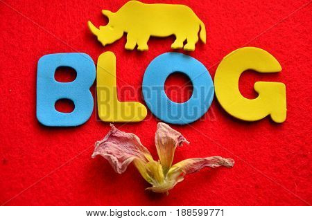 word blog on a  abstract redb  background